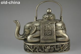 China Collectible Decorate Handwork Old Tibet Silver Carve Elephant Teapot photo