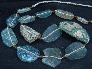 Ancient Roman Glass Fragments Beads Strand 200 Bc Be1105 photo