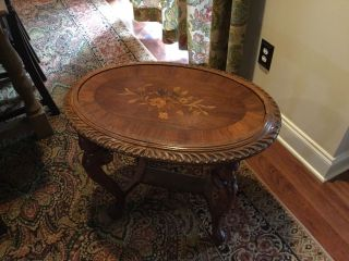 Antique Victorian Era Walnut Table With Carved Figural Legs & Inlay photo