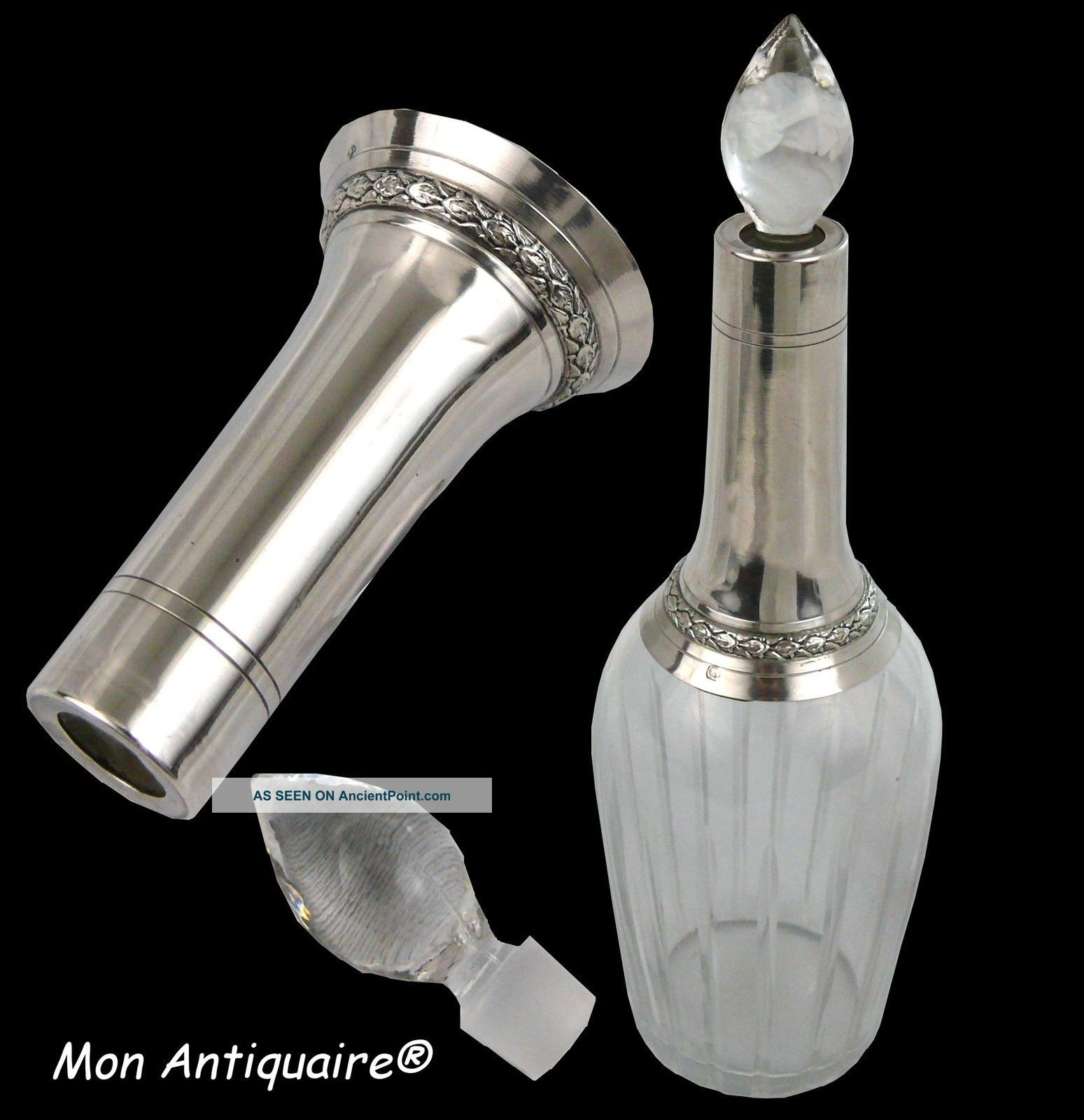 Antique French Sterling Silver & Cut Crystal Liquor Decanter Bottle Empire Style Bottles, Decanters & Flasks photo