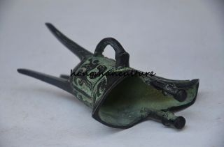Vintage Oriental Old Bronze Handmade Beast Wine Cup,archaize photo