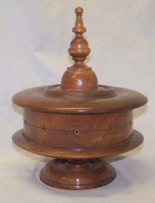Unusual Antique Walnut Victorian Wooden 11 Spool Sewing Thread Holder Dispenser photo