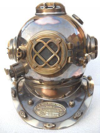 Maritime Antique Diving Divers Helmet Solid Copper & Brass 18 ' U.  S Navy Mark V photo