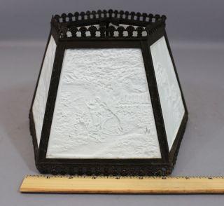 Antique Brass Victorian Nautical Scenes 5 - Panel Ppm Lithopane Lamp Shade,  Nr photo