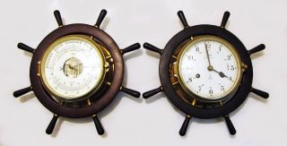 Vintage Schatz Royal Mariner Nautical Ships Bell Clock & Barometer W/ Key photo