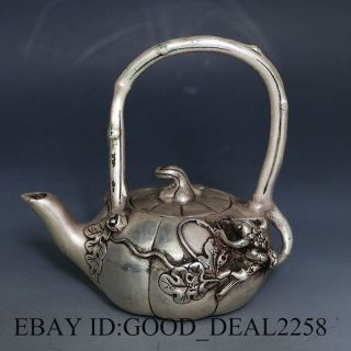 Chinese Silver Copper Hand Carved Teapot W & Qianlong Mark photo