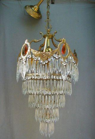 Antique Brass 5 - Tier Wedding Cake Chandelier With Amber Prisms photo