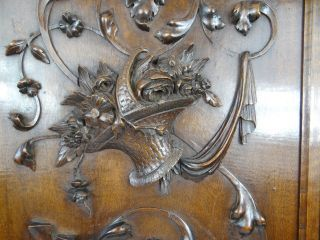 Antique French Renaissance Solid Walnut Carved Wood Panel/door - Basket Flowers photo