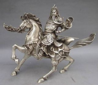 Chinese Collectable Tibet Silver Warrior God Guan Yu & Horse Statue photo