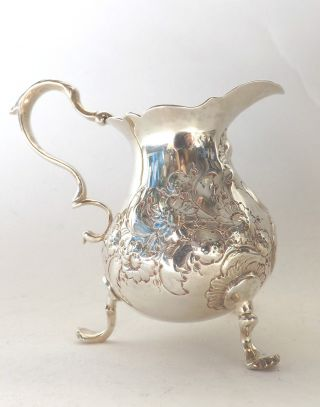 Jug Flower Chrysanthemum Georgian Solid Sterling Silver George Jones 1743 photo