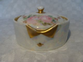 Antique Rosenthal Bavaria Hand Painted Porcelain Stud Collar Button Box Germany photo