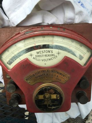 Westons Direct - Reading Milli Voltmeter Electrical Instrument Last Pat.  June 1888 photo