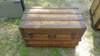 Antique Dome Top Steamer Trunk Blanket Box Quilt Chest Storage Primitive29x18x17 photo