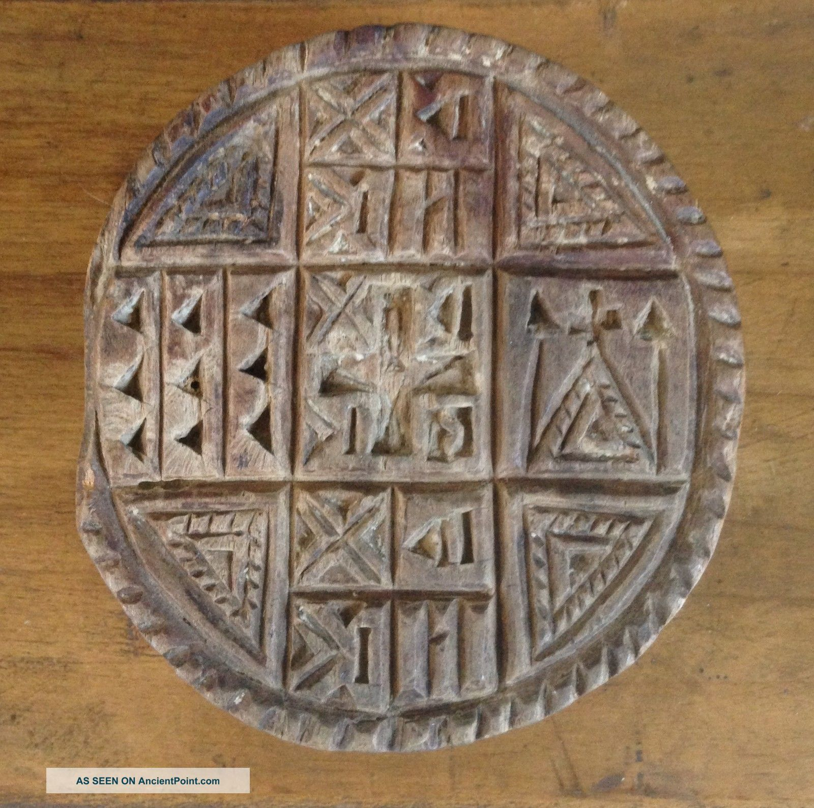 Antique Prosphora Seal,  Hand Carved Wood,  Communion Bread Mold / Stamp Byzantine photo