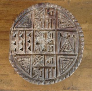 Antique Prosphora Seal,  Hand Carved Wood,  Communion Bread Mold / Stamp photo