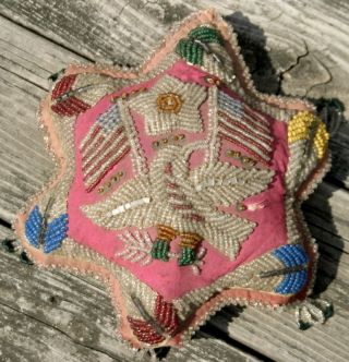 Native American Or Indian Beaded Pin Cushion Or Pillow Rare Color Pink photo