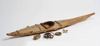 Antique Native American Indian Inuit Sealskin Kayak Model / 19th - 20th Century photo