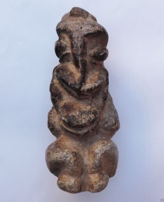 Ancient Tribal African Art Large Stone Statue Kissi Nomoli Or Pombo Figure. photo
