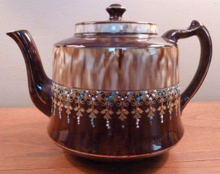 Gibson ' S Victorian Brown & Cream Teapot,  Raised Enamel & Gold Garlands - Sh photo