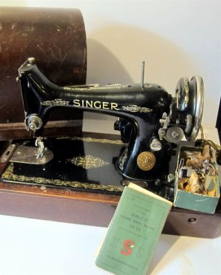 Singer Sewing Machine Model 99.  Ser Ab 421166 Wooden Dome Case - Made In 1926 photo