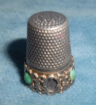 Antique Sterling Thimble With Turquoise And Vermeil Accents photo
