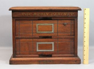 C1890s Antique Victorian Brown & Besly 2 - Drawer Oak Mechanical File Cabinet Nr photo