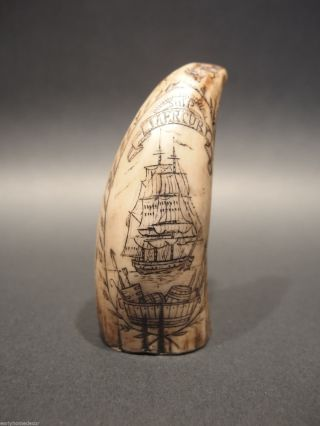 Antique Style Folk Art Sail Ship Faux Whale Tooth Scrimshaw 2 Side Decoration photo