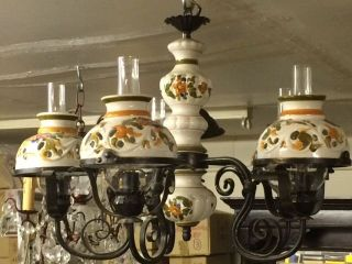 Vintage Wrought Iron Chandelier With Ceramic Shades European Bought In Spain photo