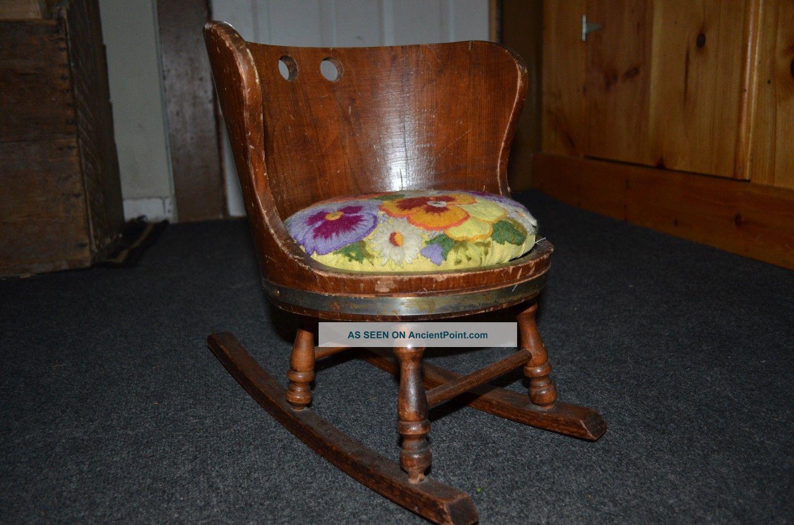 Putney Vermont Basketville Child U0027 S Rustic Barrel Wood Rocking Chair W/pad
