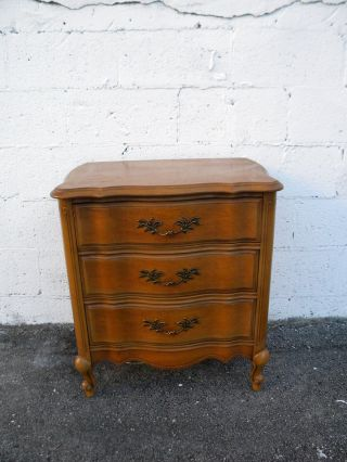 French Cherry Serpentine Nightstand / End Table 6475 photo
