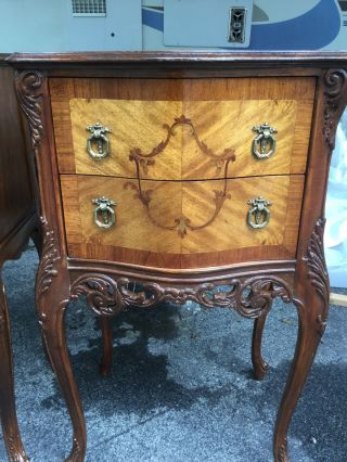 Great Pair Antique French Inlaid Stands - Night Stands photo