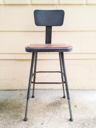 Industrial Shop Chair Vintage Steel Drafting Stool Retro Mid Century Seat Usa photo