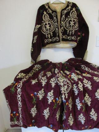 Antique Ottoman Turkish Costume Jacket & Skirt Metallic Embroidery photo