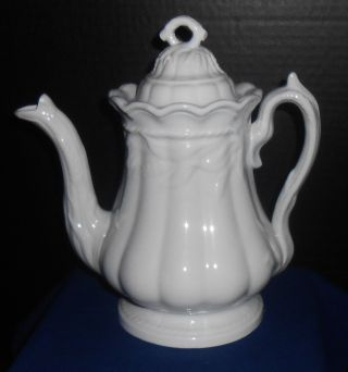 C.  1860s Staffordshire White Ironstone Wheat Pattern Coffee Teapot Turner Goddard photo