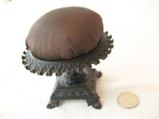Antique Stand Up Pin Cushion With Ornate Iron Base Holder 1870 ' S - 1890 ' S photo