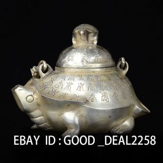 Chinese Silver Copper Handwork Statue Tortoise Teapot & Lid W Qing Dynasty Mark photo