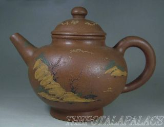 Fine Old Chinese Yixing Stoneware Teapot Artist Signed Landscape Carve photo