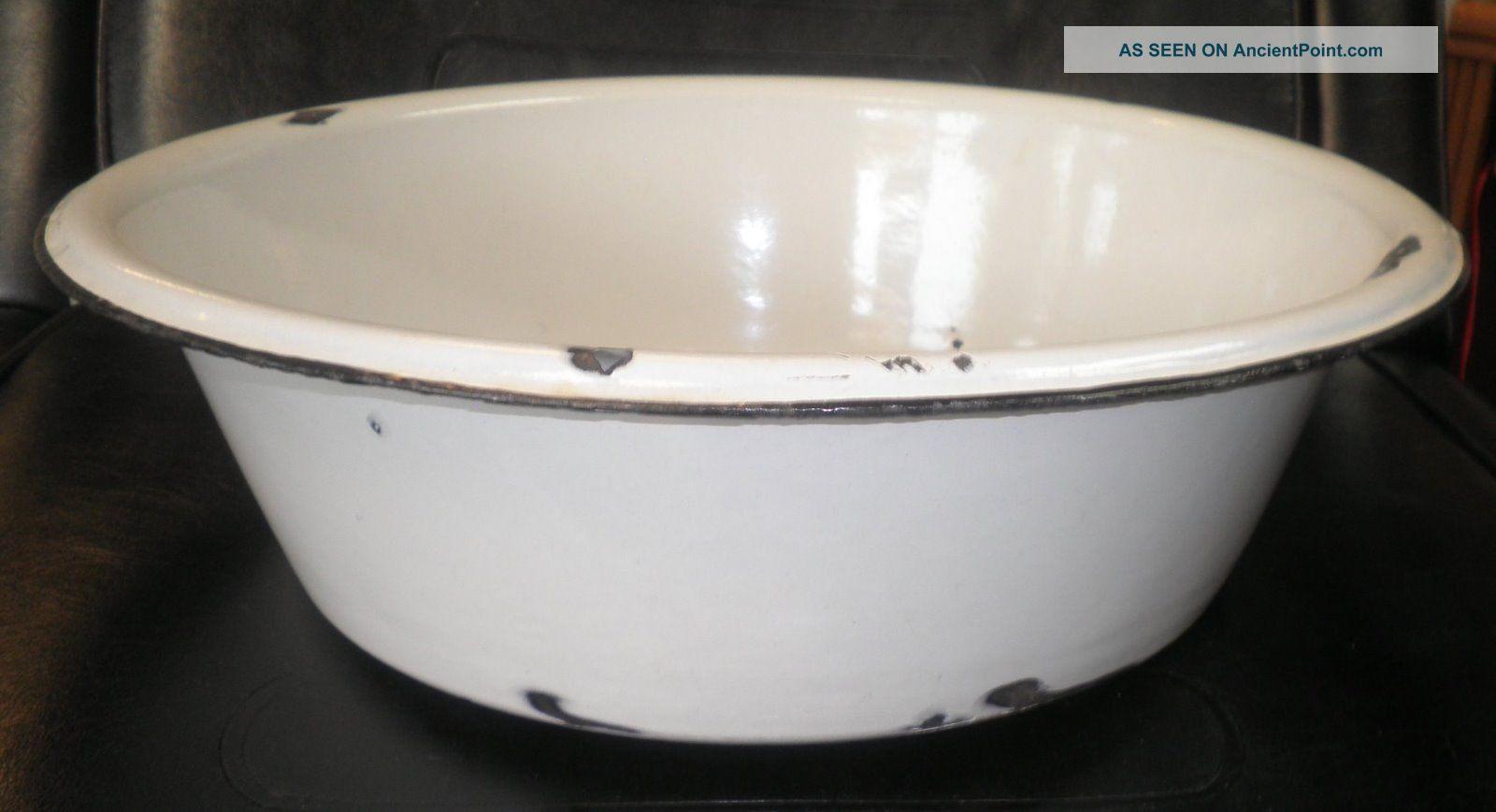 ... Antique Porcelain Enamel Wash Tub Basin Black Rim Primitives photo 1