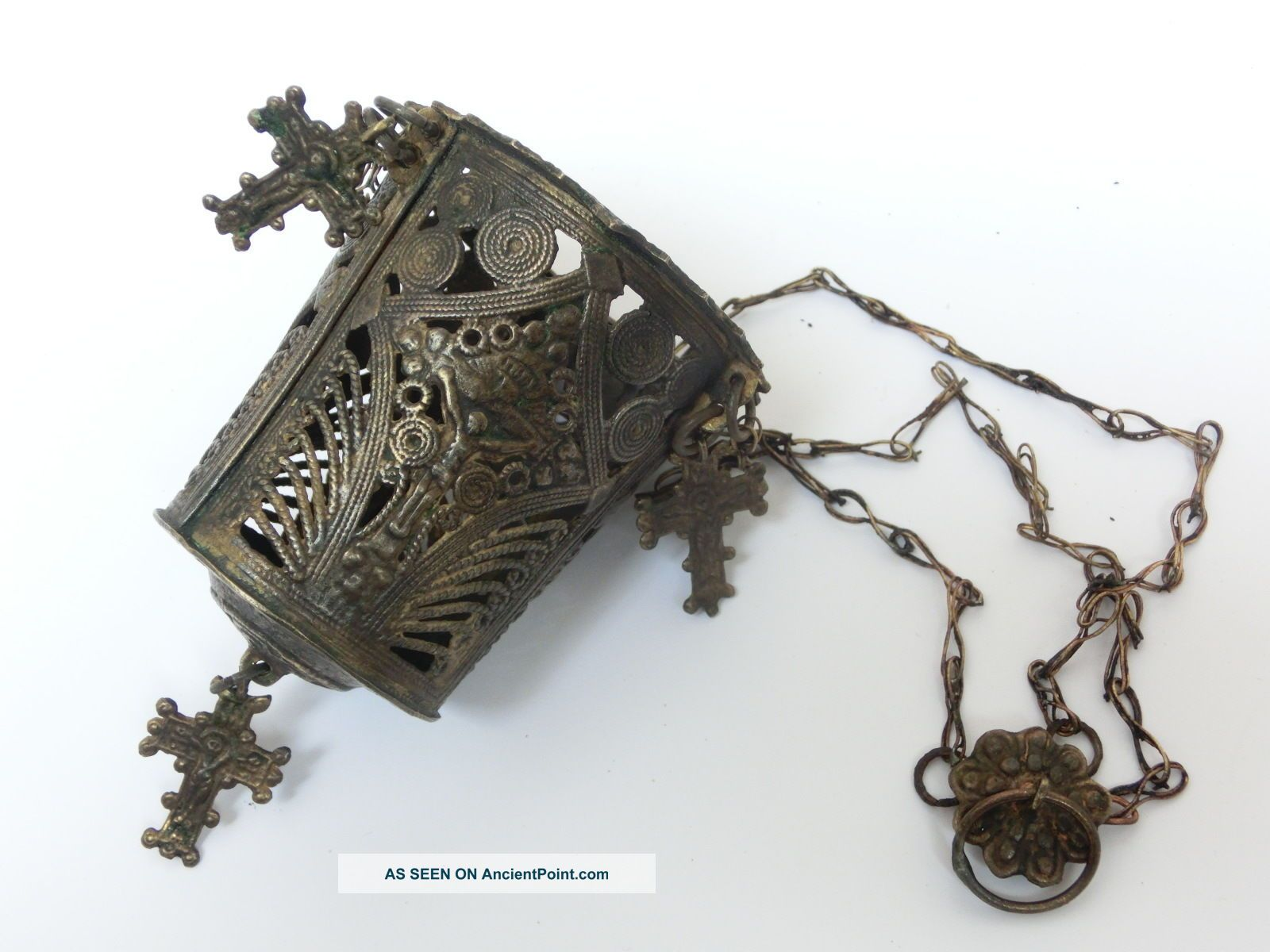 18th C.  Post Byzantine Triple Chaned Orthodox Censer Lampada W/4 Crosses Byzantine photo