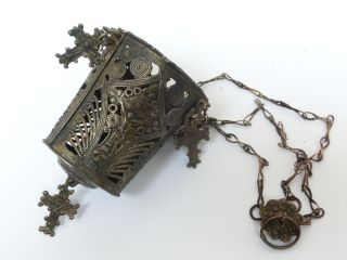 18th C.  Post Byzantine Triple Chaned Orthodox Censer Lampada W/4 Crosses photo