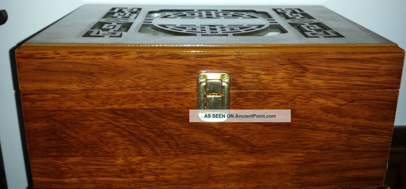 Asian Wooden Display Box With Pierced Lid Boxes photo
