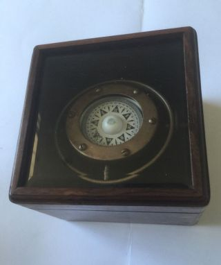 Solid Brass Collectable Gimble Ship Compass With Wood Glass Top Box (co 527) photo