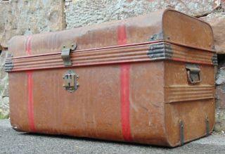 Large Vintage Metal Tin Trunk Chest Storage Box Wood Effect Brown Decorative photo