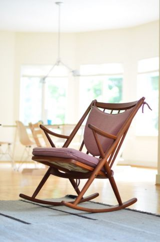 Frank Reenskaug For Brahmin Solid Teak Rocking Chair Danish Mid Century Modern photo