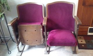 Vintage Theatre Chair,  Circa 1920 - Cast Iron,  Upholstered Veneer photo