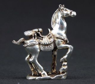 "Old Handwork Miao Silver Carving Horse Wonderful Statue ""马上赢"" photo"