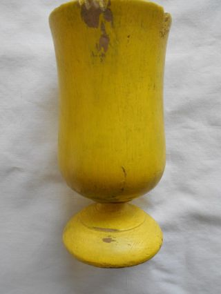 Antique Turned Primitive Wooden Cup With Yellow Paint photo