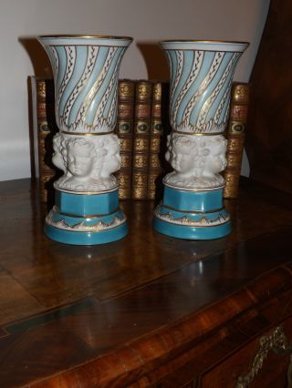 Antique French Porcelaine And Bisk Vases,  Angels,  Cherub 19th photo