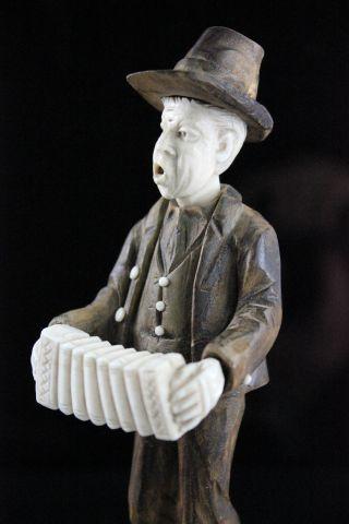 Vintage Wooden & Bone Carved German Concertina Musical Instrument Player photo