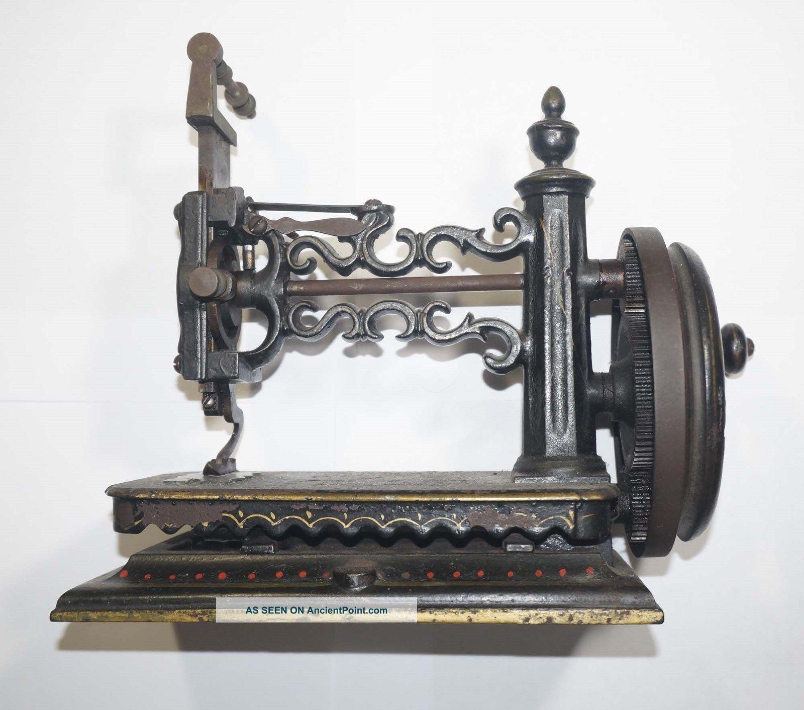 Rare Antique Shaw & Clark,  Biddeford Maine,  Hand Crank Sewing Machine C.  1860 Sewing Machines photo